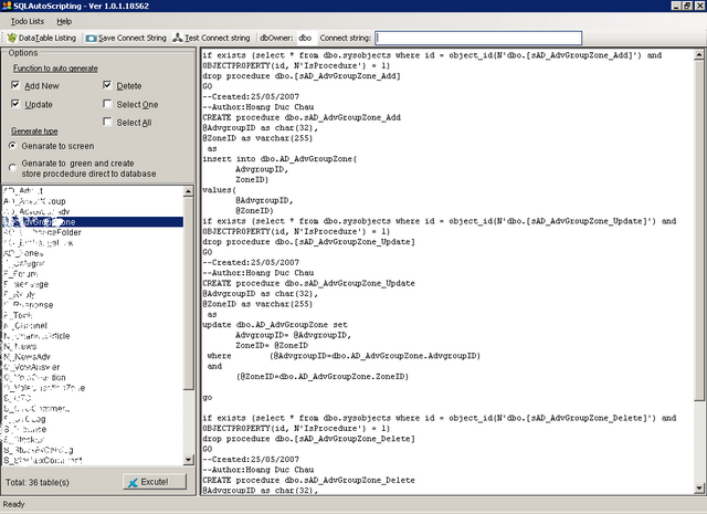 Click to view SQLAutoScripting 1.0.1.18839 screenshot